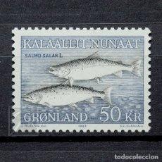 Sellos: GROENLANDIA 1983 ~ FAUNA MARINA: SALMO SALAR ~ SELLO NUEVO MNH LUJO. Lote 182642621