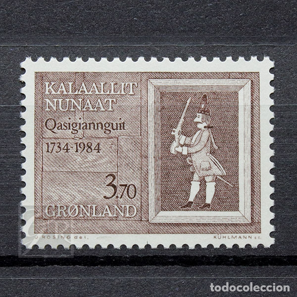 GROENLANDIA 1984 ~ ANIVERSARIO DE LA CIUDAD QASIGIANNGUIT ~ SELLO NUEVO MNH LUJO (Sellos - Extranjero - Europa - Dinamarca)