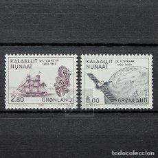 Sellos: GROENLANDIA 1985 ~ MILENARIO DE ASENTAMIENTOS EUROPEOS EN GOENLANDIA (VI) ~ SERIE NUEVA MNH LUJO. Lote 182645102