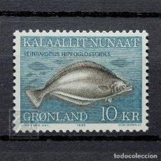 Sellos: GROENLANDIA 1985 ~ FAUNA MARINA: REINHARDTIUS HIPPOGLOSSOIDES ~ SELLO NUEVO MNH LUJO. Lote 182645788