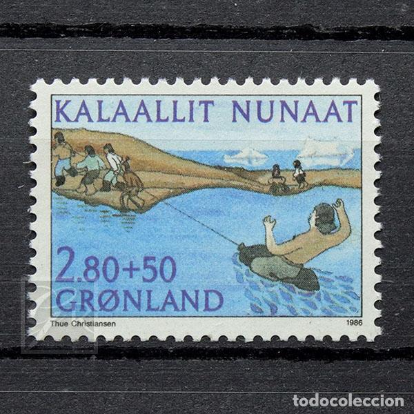 GROENLANDIA 1986 ~ PRO DEPORTE ~ SELLO NUEVO MNH BUENO (Sellos - Extranjero - Europa - Dinamarca)
