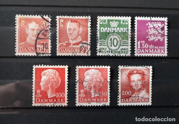 DINAMARCA 1942 A 1982 USADO 7 VALORES REYES SERIE BÁSICA ESCUDO (Sellos - Extranjero - Europa - Dinamarca)