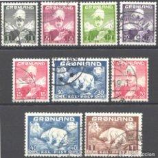 Sellos: GROENLANDIA, 1938-46 YVERT Nº 1 / 9 . Lote 191123053