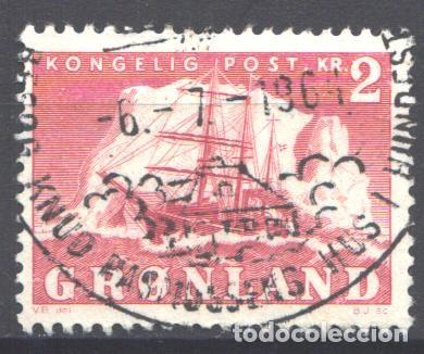 GROENLANDIA, 1950-59 YVERT Nº 26, BARCO / VELERO. (Sellos - Extranjero - Europa - Dinamarca)