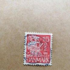 Sellos: DINAMARCA - VALOR FACIAL 15 ORE - AÑO 1927 - YV 181 - VELERO - CARABELA. Lote 195450803