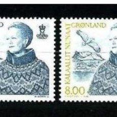 Sellos: GROENLANDIA, 2000 YVERT N 334 / 337 /**/, REINA MARGARITA II. Lote 206188586