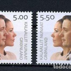 Sellos: GROENLANDIA, 2004 YVERT N 399 / 400 /**/, BODA REAL - PRÍNCIPE HEREDERO FREDERIK Y MARY. Lote 206188665
