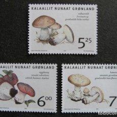 Sellos: GROENLANDIA, 2005 YVERT Nº 410 / 412 /**/, HONGOS COMESTIBLES EN GROENLANDIA. Lote 206188721