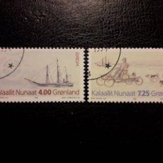 Francobolli: GROENLANDIA (DINAMARCA) YVERT 233/4 SERIE COMPLETA USADA. EUROPA 1994. DESCUBRIMIENTOS. BARCOS. Lote 211443979