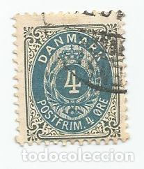 ANTIGUO SELLO USADO DE DINAMARCA DE 1875- YVERT 23- VALOR 4 ORE (Sellos - Extranjero - Europa - Dinamarca)