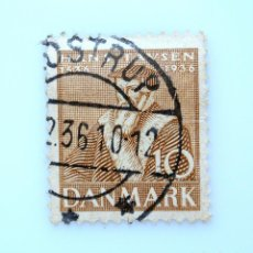 Sellos: SELLO POSTAL DINAMARCA 1936, 10 ØRE, 400 ANIV. REFORMACIÓN, HANS TAUSEN, USADO. Lote 235092950