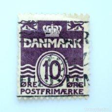 Sellos: SELLO POSTAL DINAMARCA 1939, 10 ØRE, LINEAS ONDULADAS, NÚMERO CON CORONA Y LEON HERÁLDICO, USADO. Lote 235119250