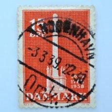 Sellos: SELLO POSTAL DINAMARCA 1938, 15 ØRE ,MONUMENTO ABOLICION DE LOS AGRICULTORES ESCLAVISTAS, USADO. Lote 235311720