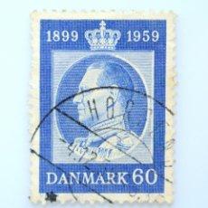 Sellos: SELLO POSTAL DINAMARCA 1959, 60 ØRE ,60 CUMPLEAÑOS DEL REY FREDERIK IX, USADO. Lote 235319430