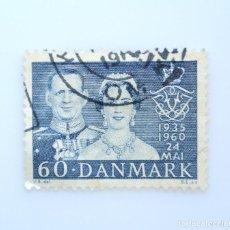 Sellos: SELLO POSTAL DINAMARCA 1960, 60 ØRE , 25 ANIVERSARIO DE BODAS REY FREDERIK IX Y REINA INGRID, USADO. Lote 235320845