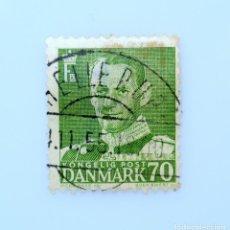 Sellos: SELLO POSTAL DINAMARCA 1950, 70 ØRE , REY FREDERIK IX, USADO. Lote 235429420