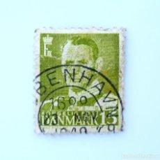 Sellos: SELLO POSTAL DINAMARCA 1948, 15 ØRE , REY FREDERIK IX, USADO. Lote 235432425