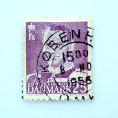 Sellos: SELLO POSTAL DINAMARCA 1955, 25 ØRE , REY FREDERIK IX, USADO. Lote 236706940
