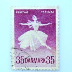 "Sellos: SELLO POSTAL DINAMARCA 1959, 35 ØRE ,MARGRETHE SCHANNE EN ""LA SYLPHIDE"", USADO. Lote 236719850"