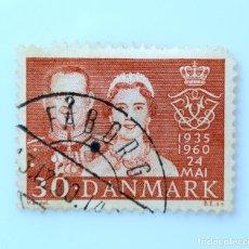 Sellos: SELLO POSTAL DINAMARCA 1960, 30 ØRE, 25 ANIVERSARIO DE BODAS REY FREDERIK Y REINA INGRID, USADO. Lote 236729625