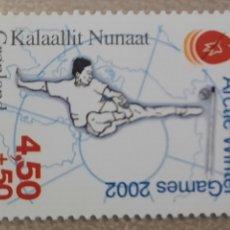 Sellos: SELLO GROENLANDIA/GRONLAND/KALAALLIT NUNAAT-ARTIC WINTER GAMES 2002-SIN CIRCULAR-2001. Lote 244546690