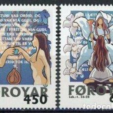 Sellos: FEROE 1999 IVERT 362/3 *** NAVIDAD - ADAN Y EVA Y LA ANUNCIACIÓN. Lote 244550270