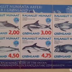 Sellos: SELLO GROENLANDIA/GRONLAND/KALAALLIT NUNAAT- AÑO INTERNACIONAL DEL OCÉANO/OCEANOGRAFI-UNESCO-1998. Lote 244555925