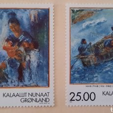 Sellos: SELLO GROENLANDIA/GRONLAND/KALAALLIT NUNAAT- PINTURA/HANS LYNGE/ANGAJU MILUTTOQ-1998-SIN CIRCULAR. Lote 244556980