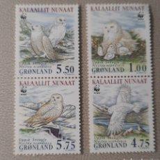Sellos: GROENLANDIA/GRONLAND/KALAALLIT NUNAAT-UPPIK SNEUGLE NYCTEA SCANDIACA/WWF-1999-AVES RAPACES. Lote 244560000
