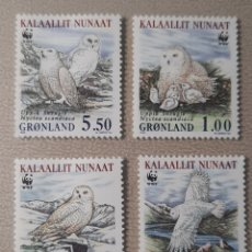 Sellos: GROENLANDIA/GRONLAND/KALAALLIT NUNAAT-UPPIK SNEUGLE NYCTEA SCANDIACA/WWF-1999-AVES RAPACES. Lote 244561875