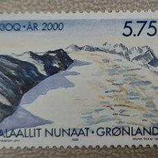 Sellos: GROENLANDIA/GRONLAND/KALAALLIT NUNAAT- UKIOQ AR 2000/PAISAJE NEVADO-1999-SIN CIRCULAR. Lote 244563010