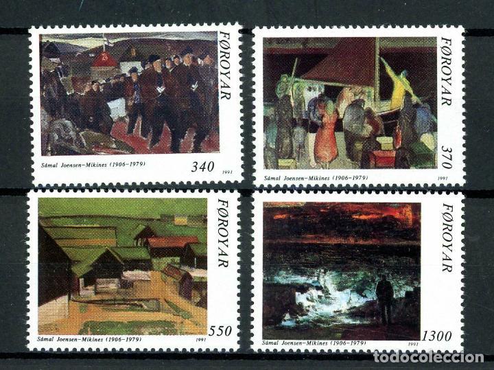 FEROE 1991 IVERT 217/20 *** HOMENAJE AL PINTOR Y ESCULTOR SAMAL JOENSEN-MIKINES - PINTURA (Sellos - Extranjero - Europa - Dinamarca)