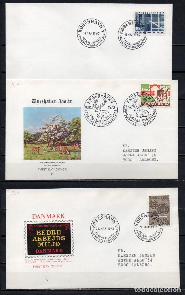 LOTE DE 3 FDC, SOBRE DE PRIMER DÍA DE EMISIÓN DE -DINAMARCA-, AÑOS 1967, 1970, 1973 (Sellos - Extranjero - Europa - Dinamarca)