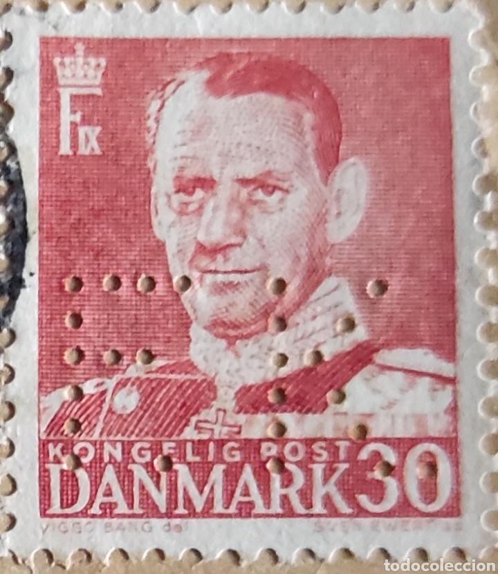 Sellos: 2 sellos de Dinamarca usados. 1 de Frederic IX 30 ore y 1 de 10 øre verde - Foto 2 - 277168803