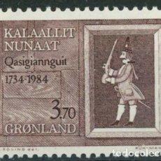 Sellos: GROENLANDIA 1984 IVERT 140 *** 250º ANIVERSARIO CIUDAD DE CHRISTIANSHAB - SOLDADO DANES SIGLO XVI. Lote 295022758