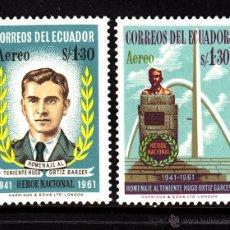 Sellos: ECUADOR AEREO 383/84** - AÑO 1961 - 20º ANIVERSARIO DE LA MUERTE DEL TENIENTE HUGO ORTIZ GARGES. Lote 41354381