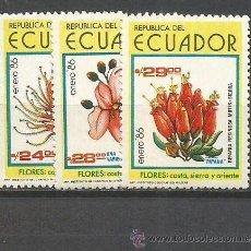 Sellos: ECUADOR FLORES YVERT NUM. 1101/1103 ** SERIE COMPLETA SIN FIJASELLOS. Lote 47381842