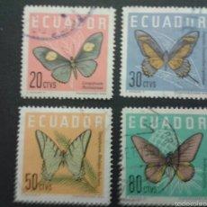 Sellos: SELLOS DE ECUADOR. FAUNA. INSECTOS. MARIPOSAS. YVERT 676/9. SERIE COMPLETA USADA.. Lote 53039053