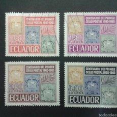 Sellos: SELLOS DE ECUADOR. SELLOS SOBRE SELLOS. YVERT 744/7. SERIE COMPLETA USADA.. Lote 53277626