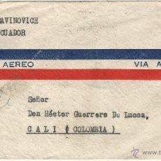 Sellos: ECUADOR CORREO AEREO 1945 - HISTORIA POSTAL CARTA VOLADA DESDE ECUADOR A COLOMBIA CANCELACION DE LIN. Lote 53320676