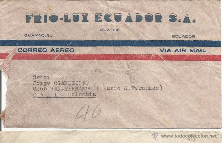 ECUADOR CORREO AEREO 1949 HISTORIA POSTAL CARTA VOLADA DESDE ECUADOR A COLOMBIA. (Sellos - Extranjero - América - Ecuador)