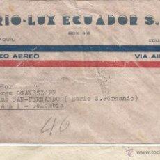 Sellos: ECUADOR CORREO AEREO 1949 HISTORIA POSTAL CARTA VOLADA DESDE ECUADOR A COLOMBIA.. Lote 53321057