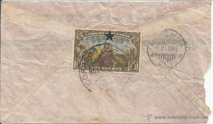 Sellos: ECUADOR CORREO AEREO 1949 HISTORIA POSTAL CARTA VOLADA DESDE ECUADOR A COLOMBIA. - Foto 2 - 53321057