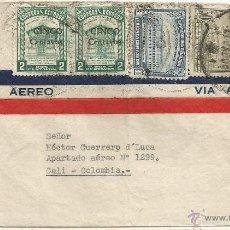 Sellos: ECUADOR - CORREO AEREO 1945 HISTORIA POSTAL CARTA VOLADA DESDE ECUADOR A COLMBIA. Lote 53321291