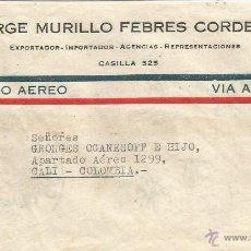 Sellos: ECUADOR - CORREO AEREO 1945 HISTORA POSTAL CARTA VOLADA DESDE ECUADOR A COLOMBIA.. Lote 53321333