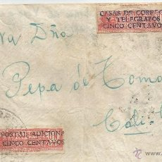 Sellos: ECUADOR - CORREO AEREO 1940 - CARTA VOLADA DE ECUADOR A COLOMBIA. CANCELACION ILEGIBLE¡. Lote 53321399