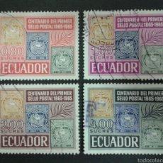 Sellos: SELLOS DE ECUADOR. SELLOS SOBRE SELLOS. YVERT 744/7. SERIE COMPLETA USADA.. Lote 55327188