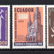 Sellos: ECUADOR AÉREO 324/26** - AÑO 1958 - CONGRESO EUCARÍSTICO NACIONAL - CATEDRAL DE GUAYAQUIL. Lote 58476179