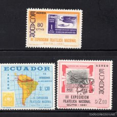 Sellos: ECUADOR AEREO 385/87** - AÑO 1961 - EXPOSICION FILATELICA NACIONAL, QUITO. Lote 58476213