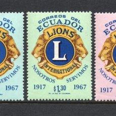 Sellos: ECUADOR 808/10** - AÑO 1968 - 50º ANIVERSARIO DE LIONS INTERNACIONAL. Lote 62228184